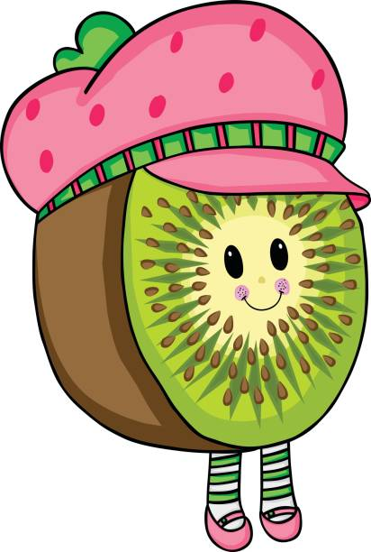 Cute kiwi cartoon with strawberry hat Scalable vectorial image representing a cute kiwi cartoon with strawberry hat, isolated on white. fruta stock illustrations