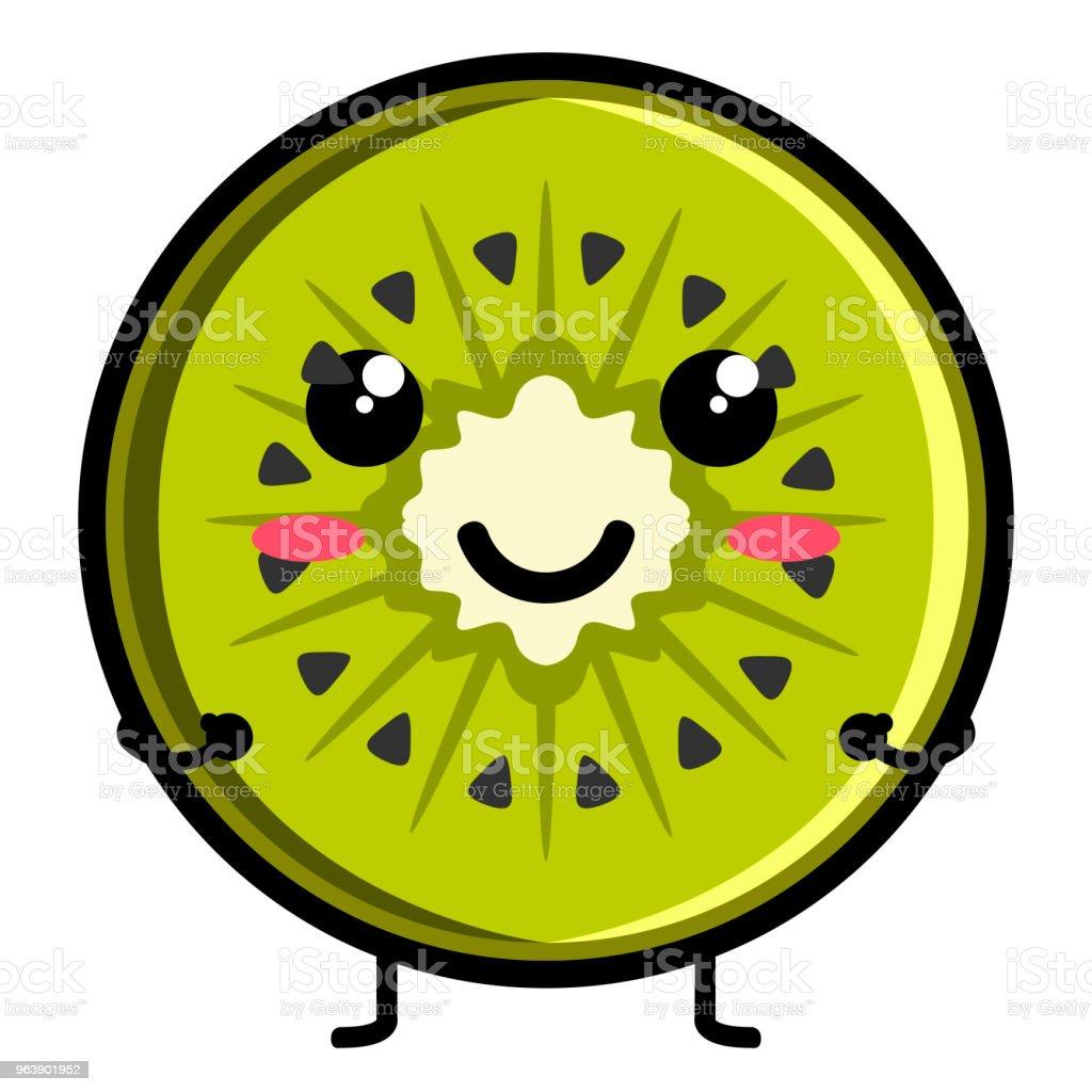 Cute kiwi emoticon - Royalty-free Cartoon stock vector