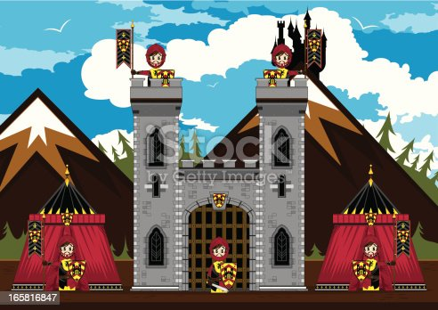 Vector illustration of adorably cute Medieval Knights at Castle scene.