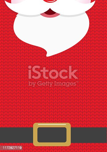 Vector illustration of a Cute knitted Santa Holiday Christmas Party background Design Template. Colorful and cute. Easy to edit with layers. EPS 10.