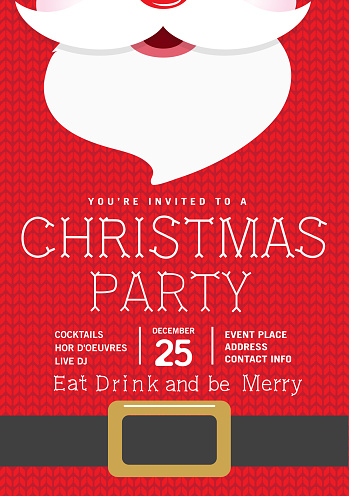 Cute knitted Santa Holiday Christmas Party Invitation Design Template