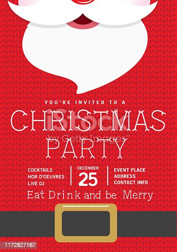 Vector illustration of a Cute knitted Santa Holiday Christmas Party Invitation Design Template. Colorful and cute. Easy to edit with layers. EPS 10.