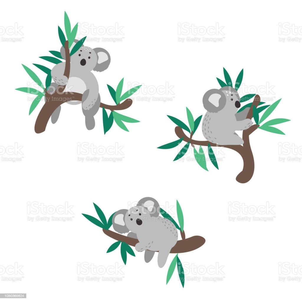ユーカリの木のベクトル イラストに登ってかわいいコアラ アイコンの