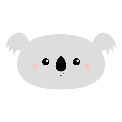 Cute koala bear. Kawaii cartoon character. Funny head face icon. Pink cheeks. Happy Valentines Day. Baby greeting card template. Notebook cover, tshirt. White background. Flat design.
