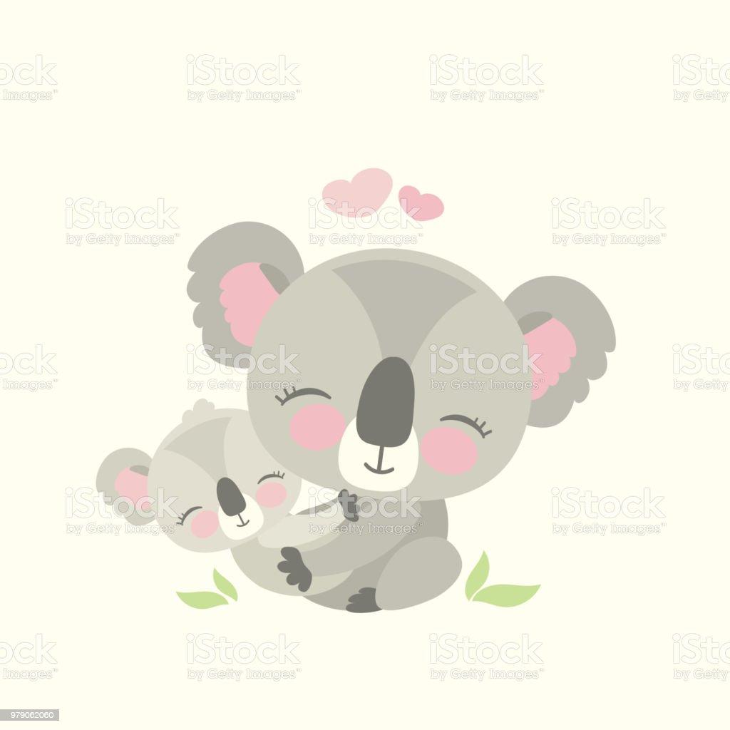 Cute koala bear with child vector art illustration