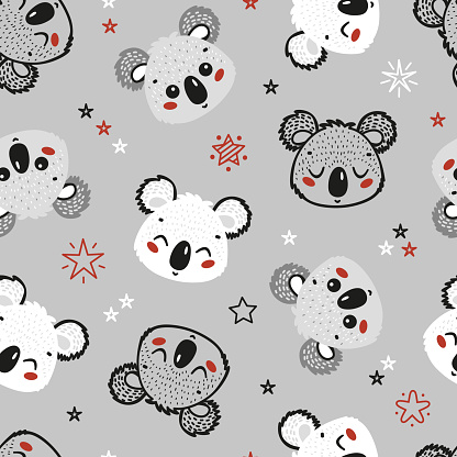 Cute Koala Bears and Stars Seamless Pattern. Childish Background. Vector Baby Animals Drawing for Tee Print for Kids