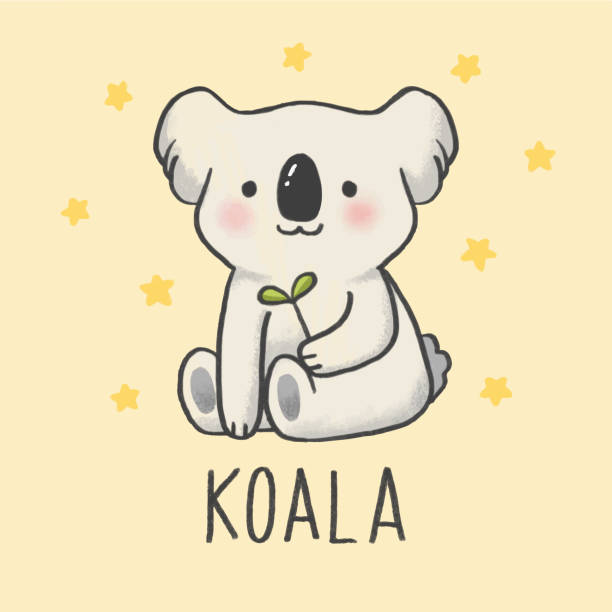 cute koala cartoon hand drawn style - koala stock illustrations
