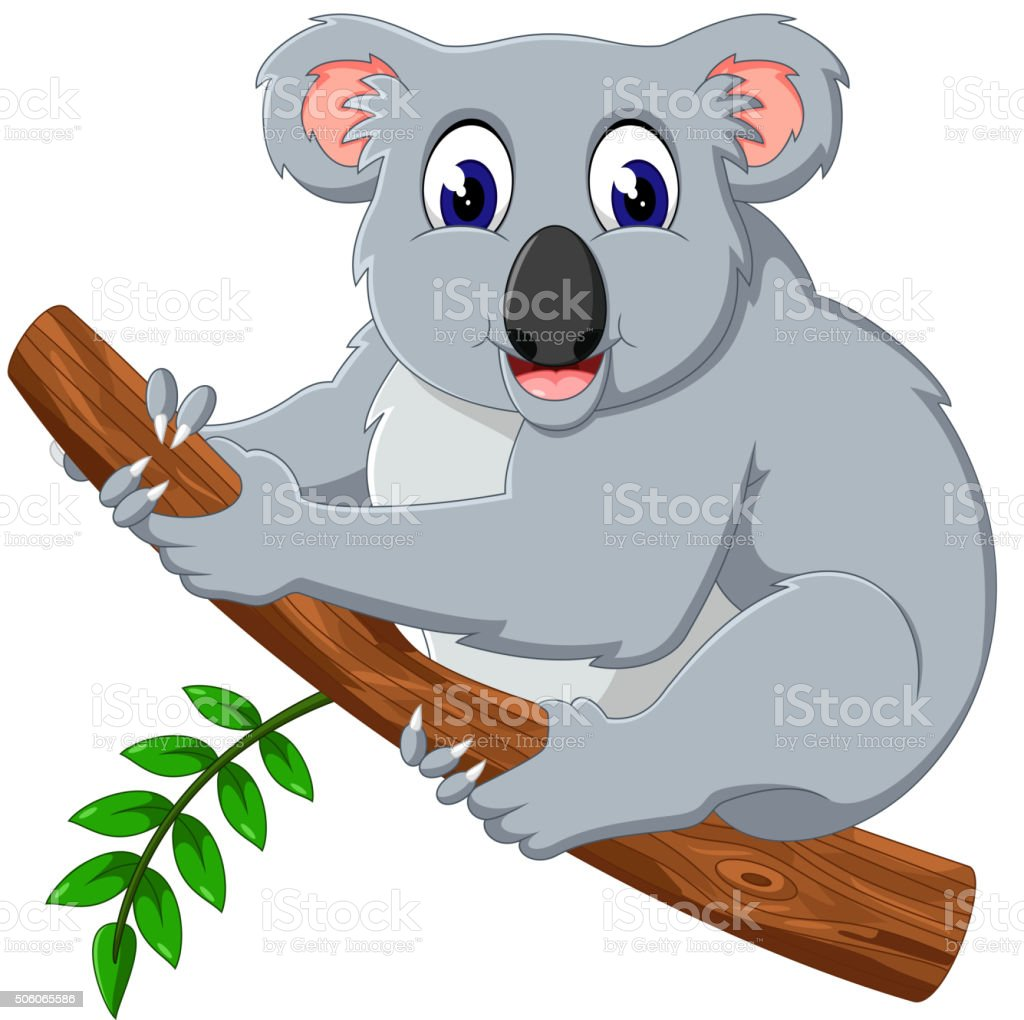 cute koala cartoon on a tree stock vector art 506065586 istock