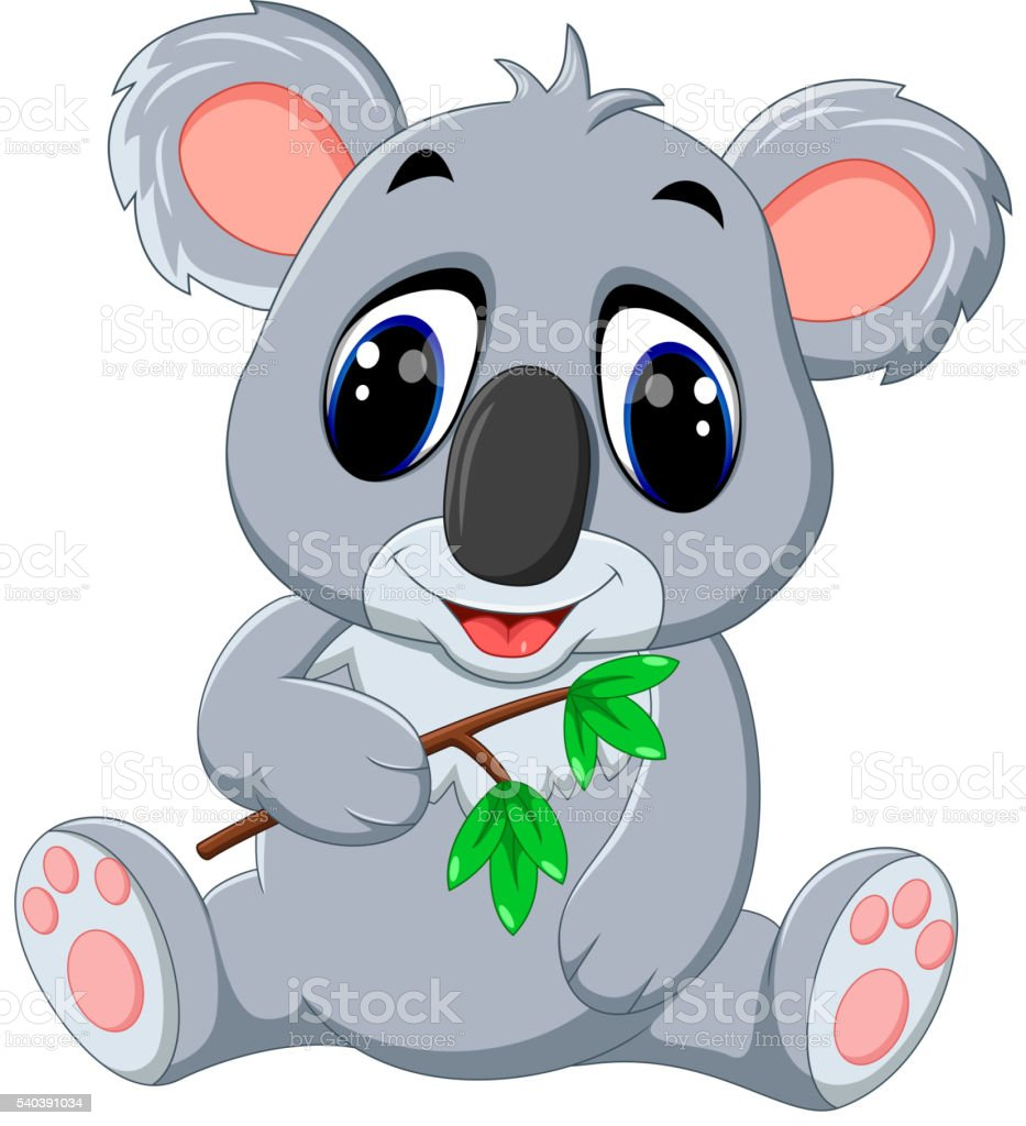 Cute koala cartoon vector art illustration