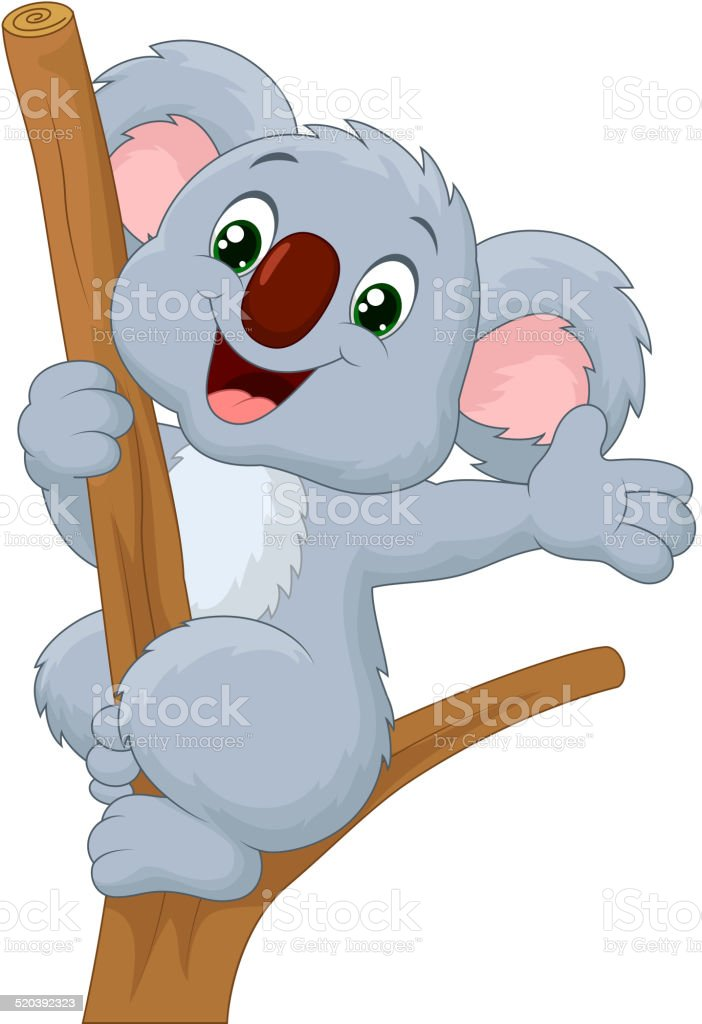 Cute koala cartoon waving hand vector art illustration