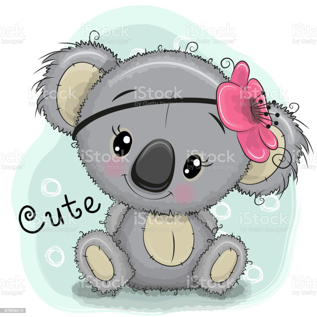 Cute Koala girl on a blue background vector art illustration