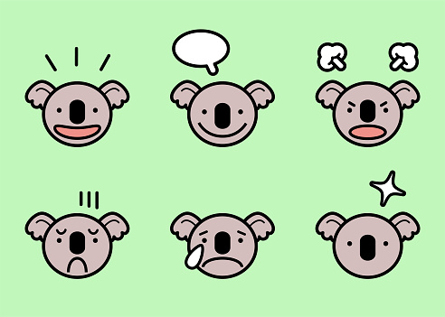 Cute koala icon set with six facial expressions in color pastel tones