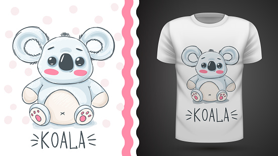 Cute koala - idea for print t-shirt.