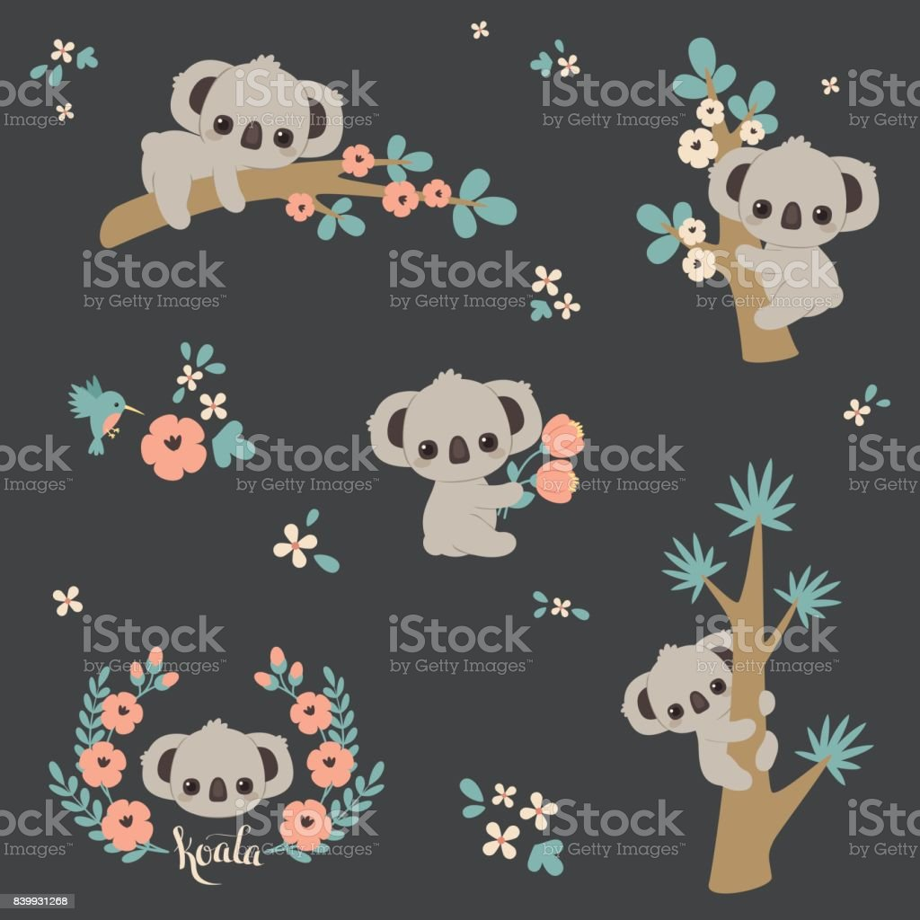 Cute koala in different poses vector art illustration