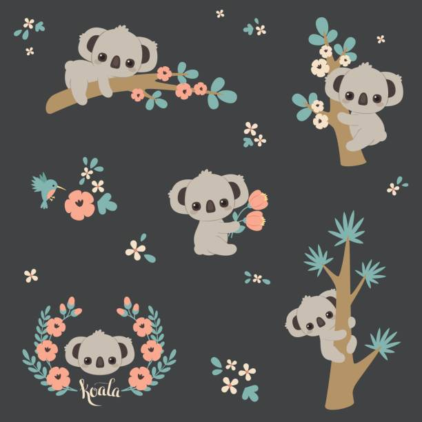 cute koala in different poses - koala stock illustrations