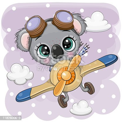 Cute Koala is flying on a plane