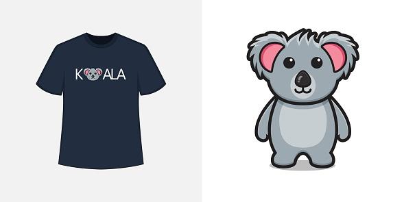 Cute koala mascot character t shirt style and trendy