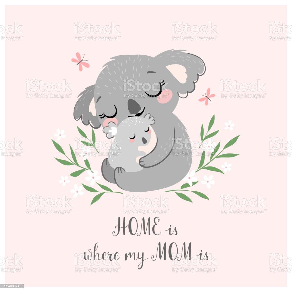 Cute koala MOM and baby vector art illustration