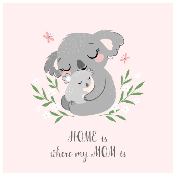 cute koala mom and baby - koala stock illustrations