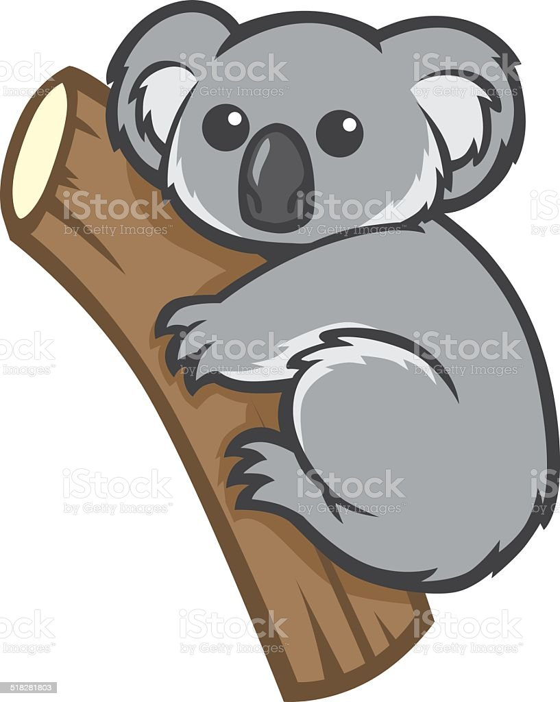 cute koala on a tree vector art illustration