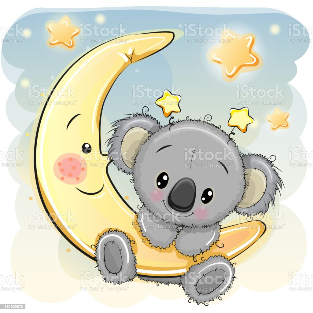 Cute Koala on the moon vector art illustration