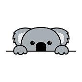 istock Cute koala paws up over wall, koala peeking cartoon icon, vector illustration 1162814361