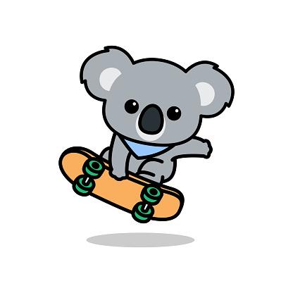 Cute koala playing skateboard cartoon, vector illustration