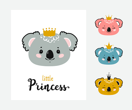 Cute Koala Princess Vector Set. Baby Koala Face with Crown and Little Princess quote Poster for Kids