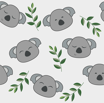 Cute koala seamless pattern vector. Coala and leaves cartoon style illustration for baby and kids background.