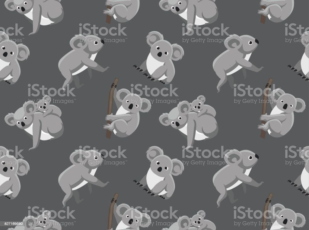 Cute Koala Seamless Wallpaper vector art illustration