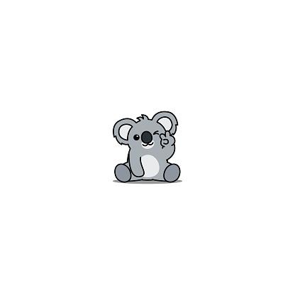 Cute koala showing V sign hand and winking eye cartoon icon, vector illustration