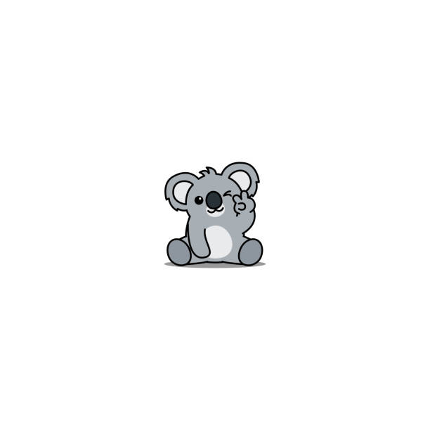 cute koala showing v sign hand and winking eye cartoon icon, vector illustration - koala stock illustrations