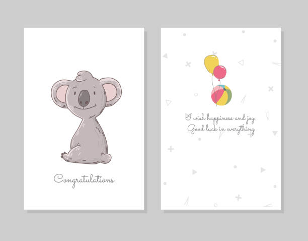 Cute koala sits. Hand drawn doodle poster template with airballs. Cute cartoon bear character Cute koala sits. Hand drawn doodle poster template with airballs. Cute cartoon bear character. baby sloth stock illustrations