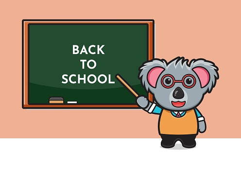 Cute koala teacher cartoon icon illustration