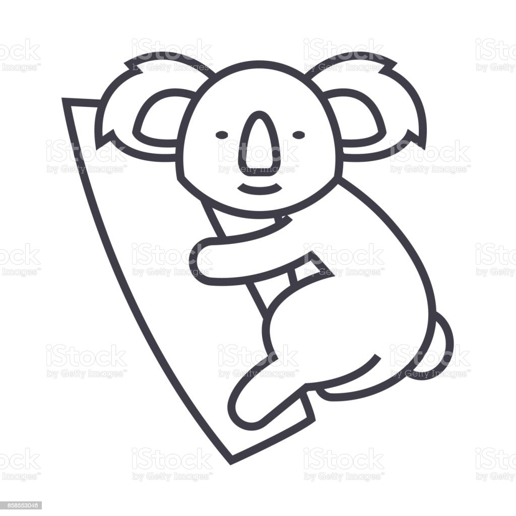 cute koala vector line icon, sign, illustration on background, editable strokes