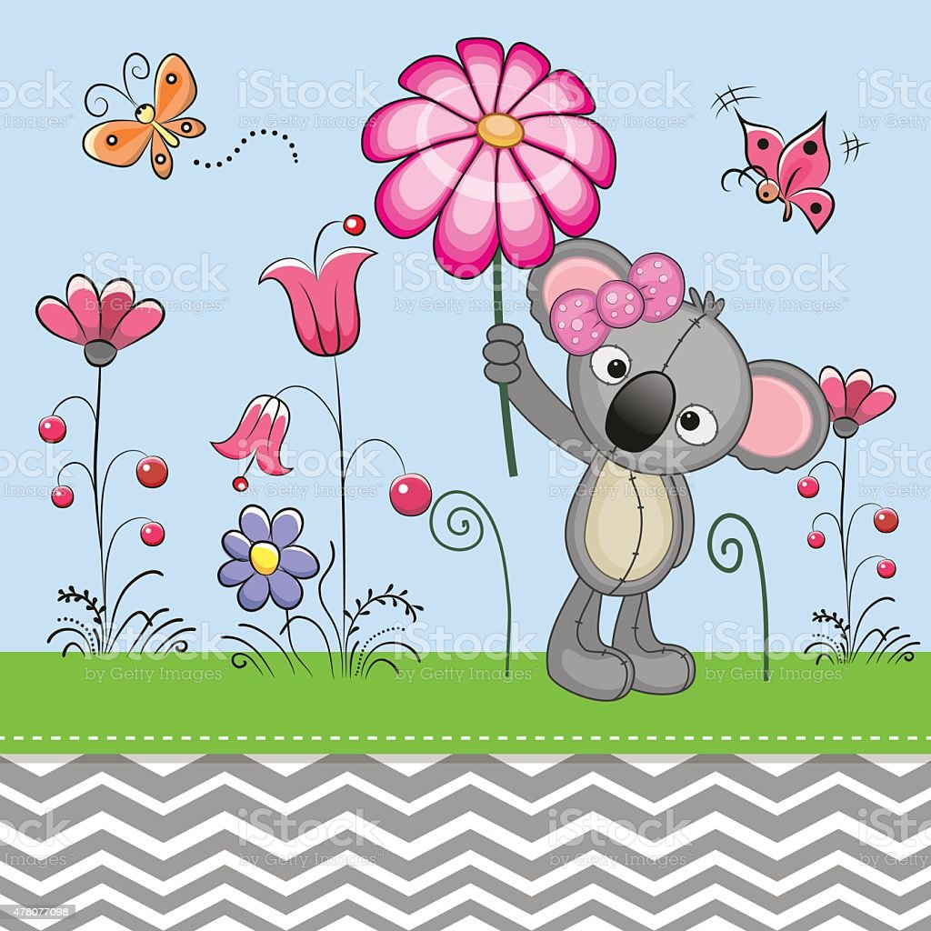 Cute Koala with a Flower vector art illustration