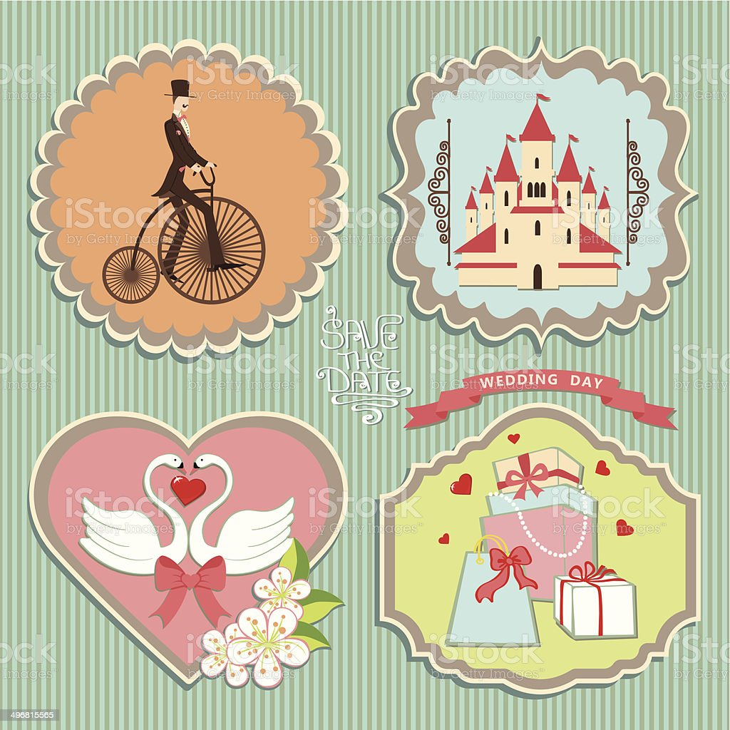 Cute label set with wedding elements.Retro royalty-free stock vector art