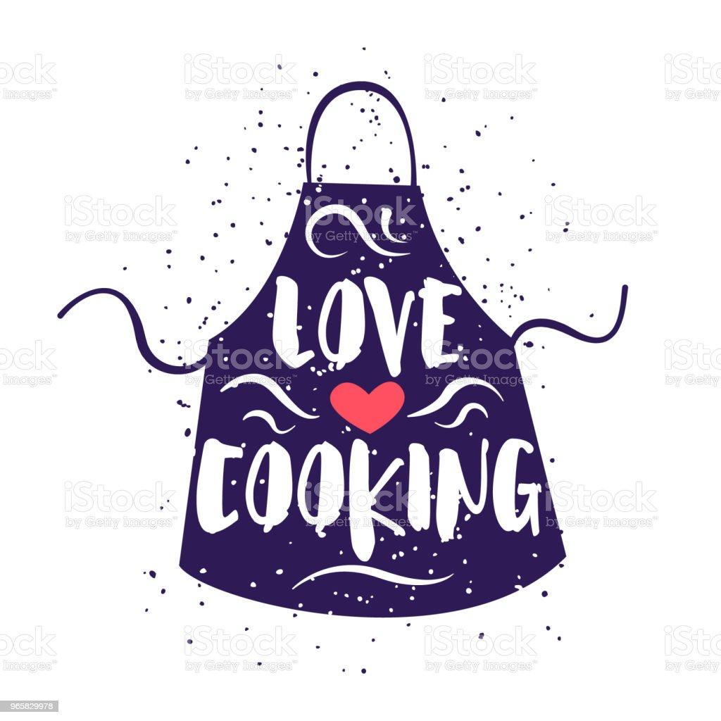 Schattig label met schort en belettering tekst Love koken op witte achtergrond. Vectorillustratie voor wenskaarten, decoratie, prenten en affiches. - Royalty-free Avondmaaltijd vectorkunst