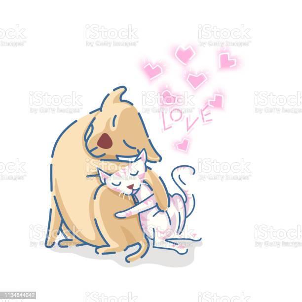 Cute labrador retriever dog hug a cat with pink hearts and love text vector id1134844642?b=1&k=6&m=1134844642&s=612x612&h=wcr de9bbkr0jczmbqfs2axtnsoo3ezringftz8gnh4=