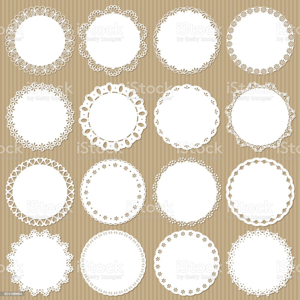Cute lacy doilies big set on cardboard background. vector art illustration