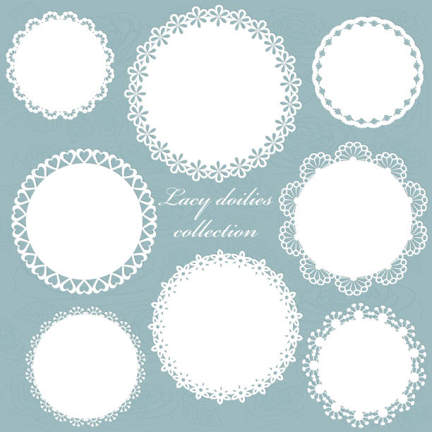 cute lacy doilies set on floral background. - koronka stock illustrations