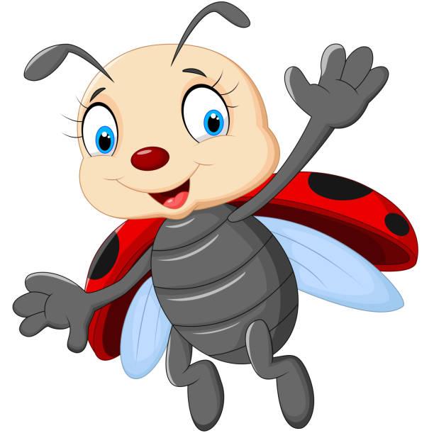 Cute Ladybug Cartoon Waving Illustrations, Royalty-Free ...