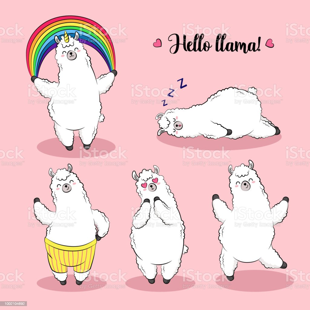100 Pictures Cartoon Characters cute lama doodle vector illustration collection of cartoon