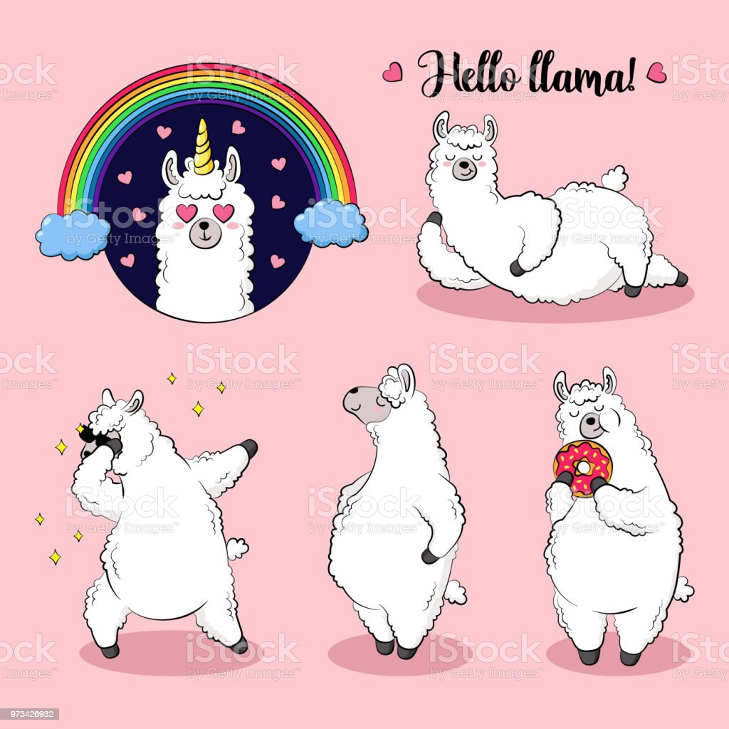 Cute Lama Doodle Vector Illustration Collection Of Cartoon ...