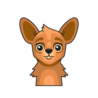 Cute Lama Face Cartoon Style on White Background. Vector