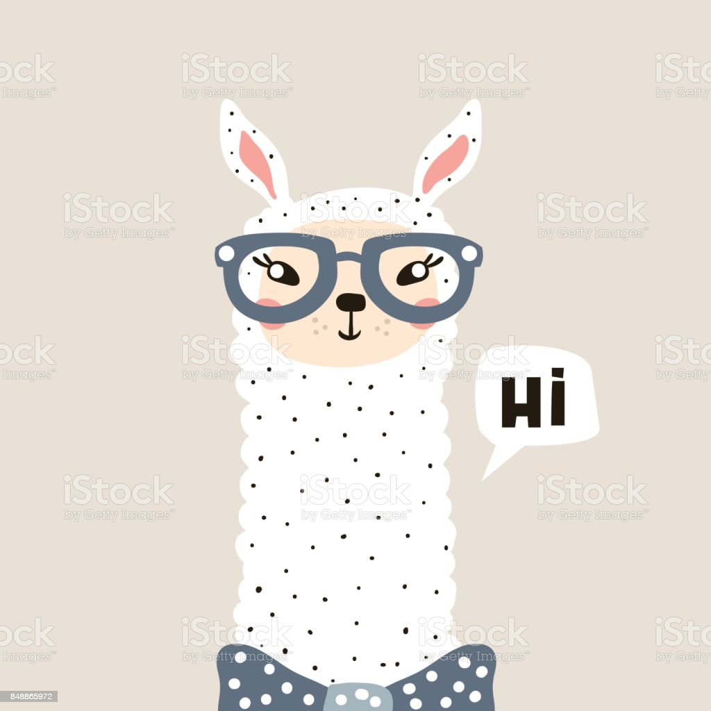 Cute Lama face. Childish print for fabric, t-shirt, poster, card, baby shower. Vector Illustrtion vector art illustration