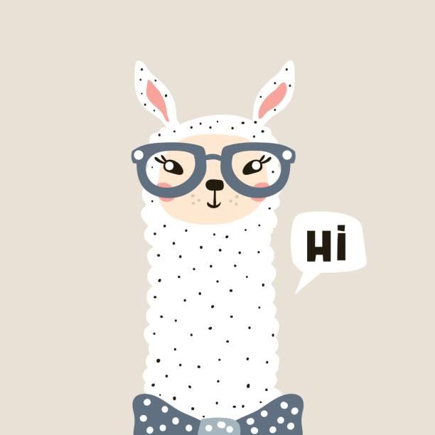 süßes lama gesicht. kindischen print für stoff, t-shirt, poster, karte, baby-dusche. vektor illustrtion - markenbrillen stock-grafiken, -clipart, -cartoons und -symbole