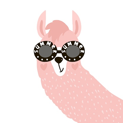 Cute Lama face in glasses. Childish print for fabric, t-shirt, poster, card, baby shower. Vector Illustrtion.