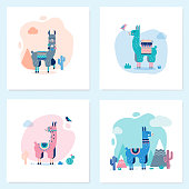 Cute Lamas Cards with mountains and cactus in vector.