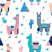 Cute Lamas with mountains and cactus seamless pattern.